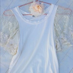 Mali Shop short sleeve sheer lace blouse top XS/S
